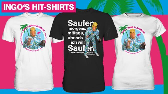 die neuen Designs der Hit-shirts von Ingo ohne Flamingo